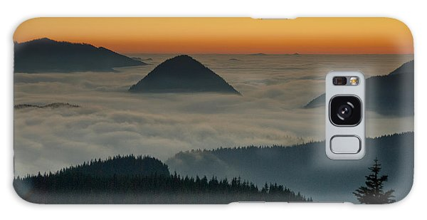Peaks Above The Fog At Sunset Galaxy Case