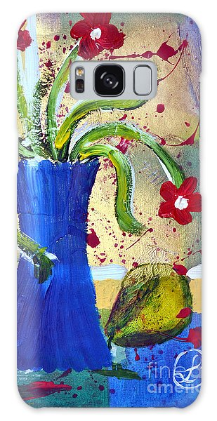 Pear And Red Flowers Galaxy Case by Lynda Cookson