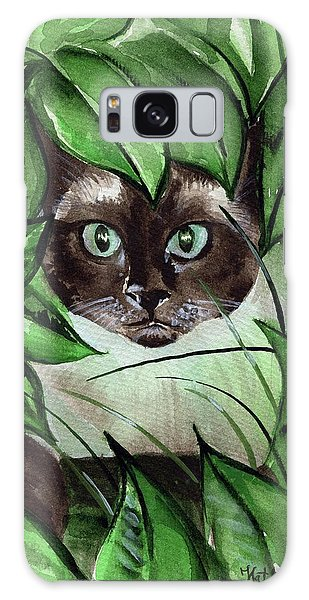 Galaxy Case featuring the painting Peek A Boo Siamese Cat by Dora Hathazi Mendes