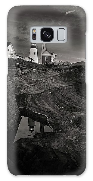 Pemaquid Lighthouse At Dawn Black And White Galaxy Case