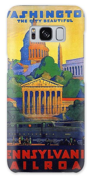 Washington Monument Galaxy S8 Case - Pennsylvania Railroad, Washington, The City Beautiful - Retro Travel Poster - Vintage Poster by Studio Grafiikka