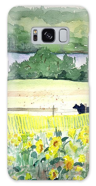 Pennsylvania - Sunflowers By The Lake Galaxy Case by Christine Lathrop
