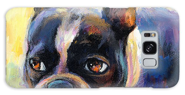 Pensive Boston Terrier Dog Painting Galaxy Case