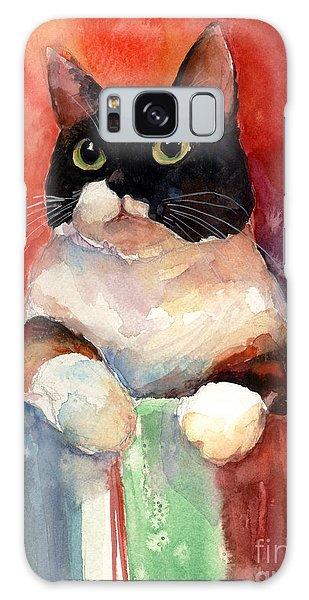 Calico Cat Galaxy Case - Pensive Calico Tubby Cat Watercolor Painting by Svetlana Novikova