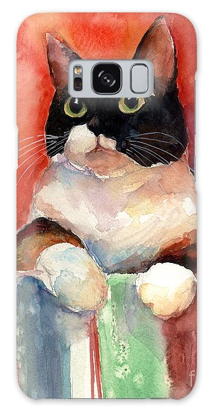 Watercolor Pet Portraits Galaxy Case - Pensive Calico Tubby Cat Watercolor Painting by Svetlana Novikova