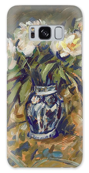 Galaxy Case - Peonies In Delft Blue Vase On Quilt by Nop Briex