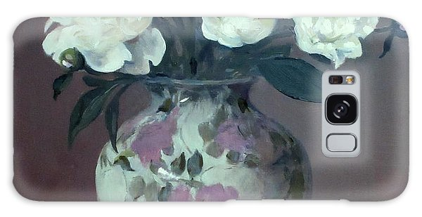 One Pink And Four White Peonies, Lavender Cloth  Galaxy Case