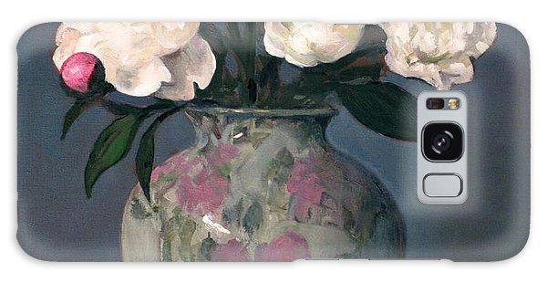Peonies In Floral Vase With Red Apple Galaxy Case
