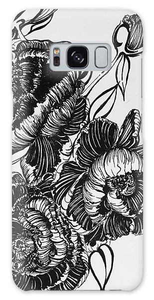 Peonies Line Drawing Galaxy Case