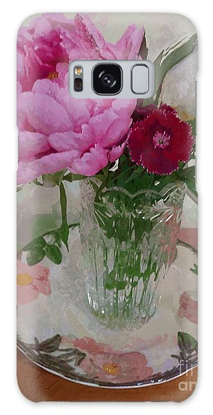 Peonies With Sweet Williams Galaxy Case by Alexis Rotella