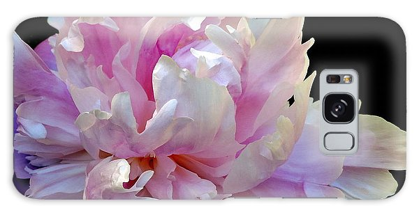 Peony On Black Galaxy Case