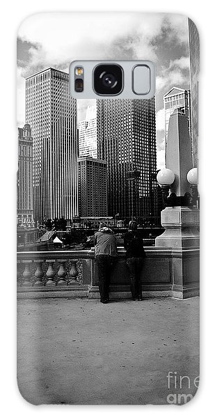 People And Skyscrapers Galaxy Case