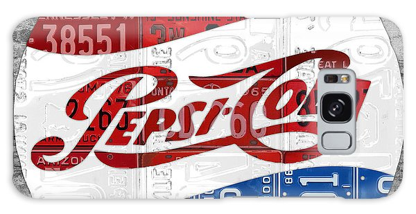 Recycle Galaxy Case - Pepsi Cola Vintage Logo Recycled License Plate Art On Brick Wall by Design Turnpike