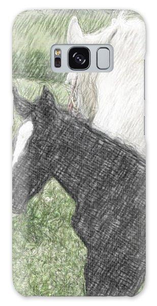 Percheron Colt And Mare In Pasture Digital Art Galaxy Case
