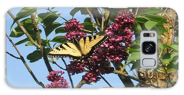 Galaxy Case featuring the photograph Yellow Swallowtail And Lilac by Deb Martin-Webster