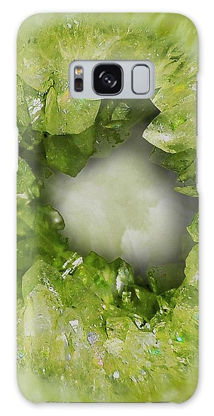 Semis Galaxy Case - Peridot Green Crystal Heart by Tina Lavoie