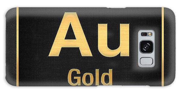 Periodic Table Of Elements - Gold - Au - Gold On Black Galaxy Case