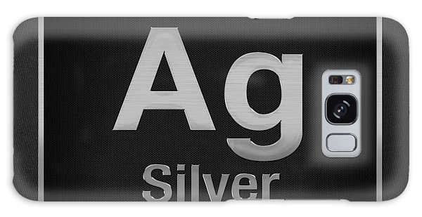 Periodic Table Of Elements - Silver - Ag - Silver On Black Galaxy Case