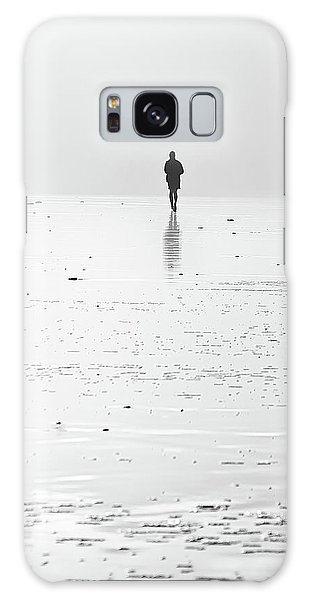 Person Running On Beach Galaxy Case