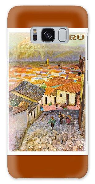 Llama Galaxy S8 Case - Peru El Misti Volcano Vintage Travel Poster by Retro Graphics