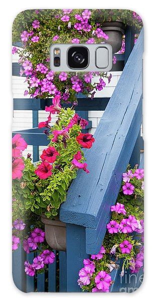 Galaxy Case featuring the photograph Petunias On Blue Porch by Elena Elisseeva