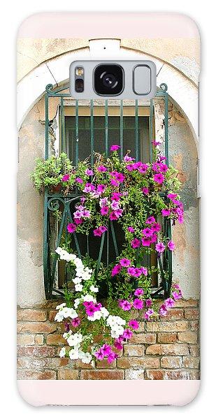 Petunias Through Wrought Iron Galaxy Case by Donna Corless