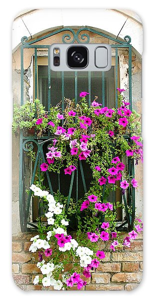 Petunias Through Wrought Iron Galaxy Case