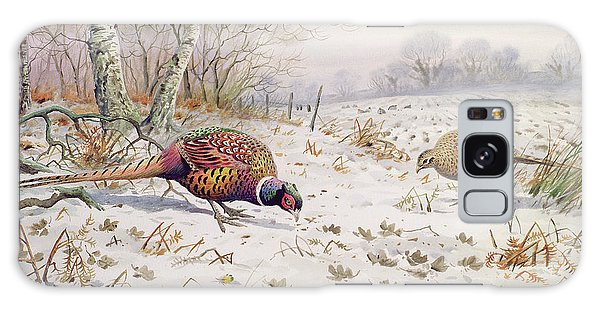 Pheasant And Partridge Eating  Galaxy Case by Carl Donner