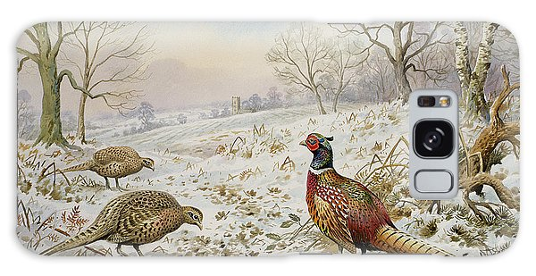 Pheasant And Partridges In A Snowy Landscape Galaxy Case
