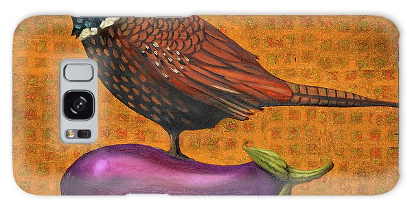 Pheasant On An Eggplant Galaxy Case by Leah Saulnier The Painting Maniac