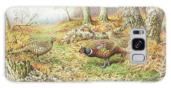 Pheasants With Blue Tits Galaxy Case