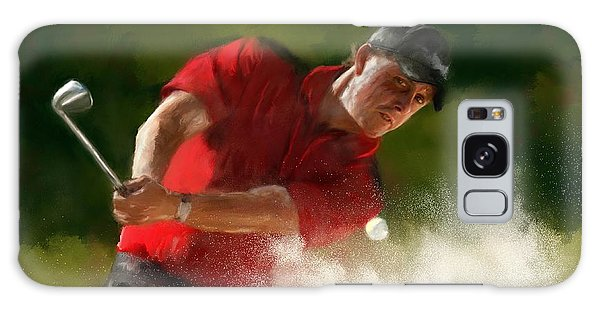 Phil Mickelson - Lefty In Action Galaxy Case by Colleen Taylor