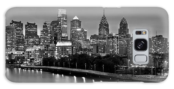 Philadelphia Philly Skyline At Dusk From Near South Bw Black And White Panorama Galaxy Case by Jon Holiday