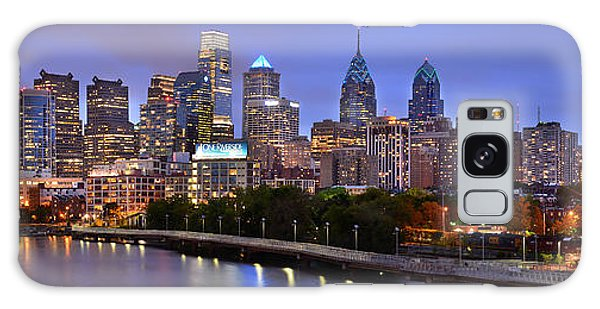 Philadelphia Philly Skyline At Dusk From Near South Color Panorama Galaxy Case by Jon Holiday