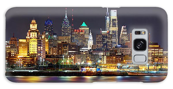 City Scenes Galaxy S8 Case - Philadelphia Philly Skyline At Night From East Color by Jon Holiday