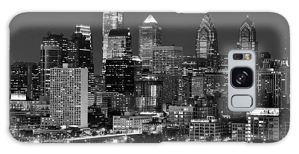 Philadelphia Skyline At Night Black And White Bw  Galaxy Case