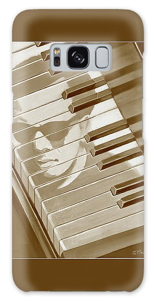 Piano Man In Sepia Galaxy Case by J L Meadows