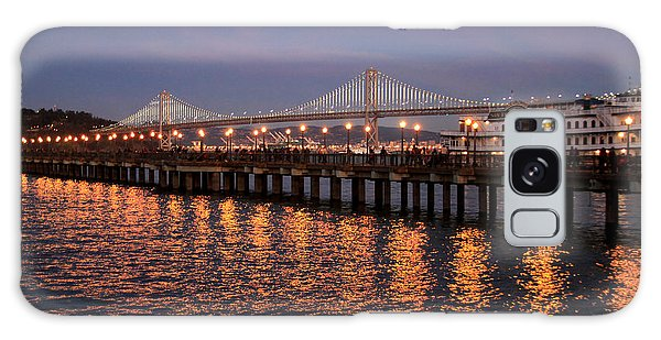 Pier 7 And Bay Bridge Lights At Sunset Galaxy Case