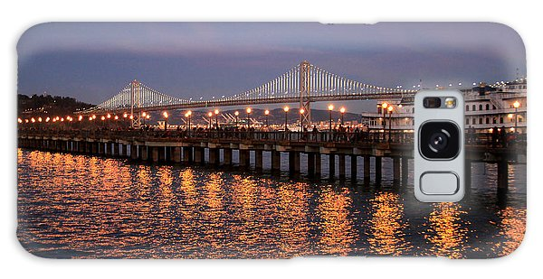 Pier 7 And Bay Bridge Lights At Sunset Galaxy Case