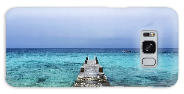 Pier On Caribbean Sea With Boat Galaxy Case