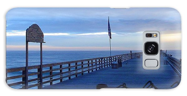 Pier View At Sunrise Galaxy Case by Cheryl Waugh Whitney