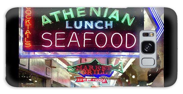 Pike Street Market Neon, Seattle Galaxy Case by Greg Sigrist