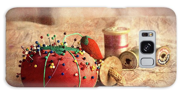 Strawberry Galaxy Case - Pin Cushion And Wooden Thread Spools by Tom Mc Nemar