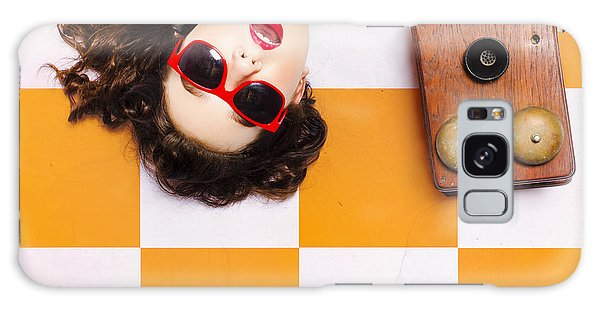 Galaxy Case featuring the photograph Pin-up Beauty Decision Making On Old Phone by Jorgo Photography - Wall Art Gallery