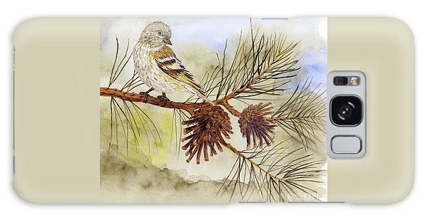 Pine Siskin Among The Pinecones Galaxy Case