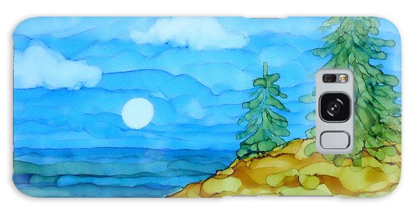 Pine Tree Moon And Water Painting Galaxy Case