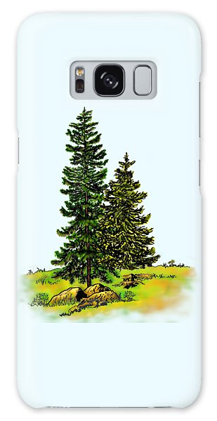 Pine Tree Nature Watercolor Ink Image 2b        Galaxy Case
