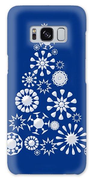 Pine Tree Snowflakes - Dark Blue Galaxy Case