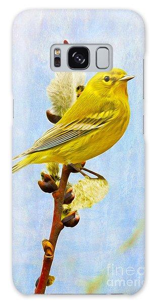 Pine Warbler On Willow Catkin Galaxy S8 Case