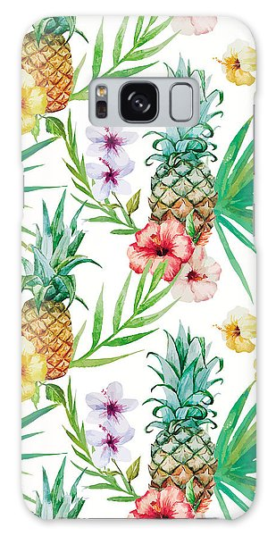 Pineapple And Tropical Flowers Galaxy Case